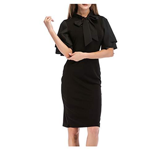 HLL-Dress Vestidos Dirndl Fashian Stand Collar Arco Delgado Vestido de Damas (Color : Black, Size : M)