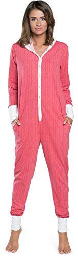 Damen Schlafanzug aus Baumwolle, Pijama Onesie warm Jumpsuit Long Sleeve Bodysuit mit Kapuze |Nachtwäsche Weihnachten | Model Herbst Winter 2020 (M, Himbeere)