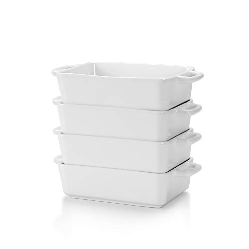 LOVECASA Fuente para Horno Pastelería, Juego de 4 piezas 230ML Moldes para hornear de Porcelana Esmaltados para Tartas, Lasaña, Pastel, Soufflé 16CM, Rectangular