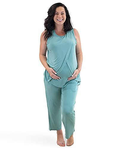 Kindred Bravely Tulip Hem Maternity & Nursing Pajamas | Nursing Pajama Set (Aqua, Medium)