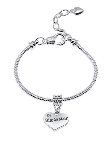 Jewellery Hut Girl's Starter Message Charm Bracelet with Gift Box - 14 Special Messages to Choose from (Big Sister)
