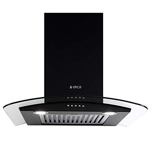 Elica 60 cm 1220 m3/hr Chimney (GLS ETB PLUS LTW 60 NERO PB LED, Baffle Filter, Black)