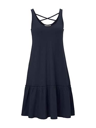 TOM TAILOR Denim Damen Jersey Rückendetail Kleid, 10360-Real Navy Blue, XL
