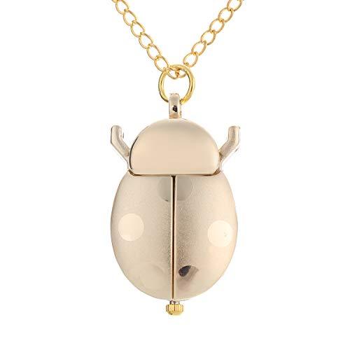 Fenkoo LadyBug Gold Zifferblatt Quarz Analog Halskette Uhr Frauen