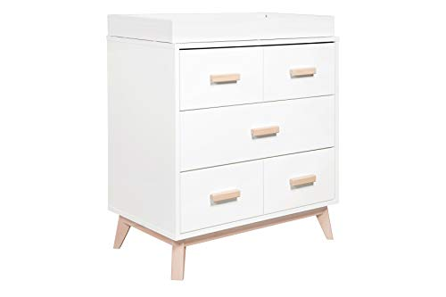 Babyletto Scoot 3-Drawer Changer Dresser with Removable Changing Tray, White / Washed Natural
