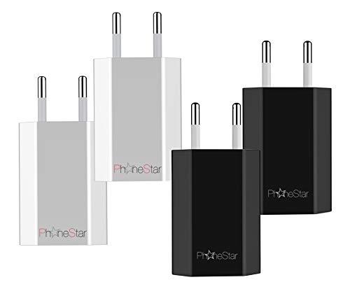Phone Star [4er-Pack] Ladeadapter USB Netzteil [1A Ladestrom] Netzstecker Vorteilspack passend für iPhone, Tablets, p30, p20 lite, Galaxy s10, s9, etc.