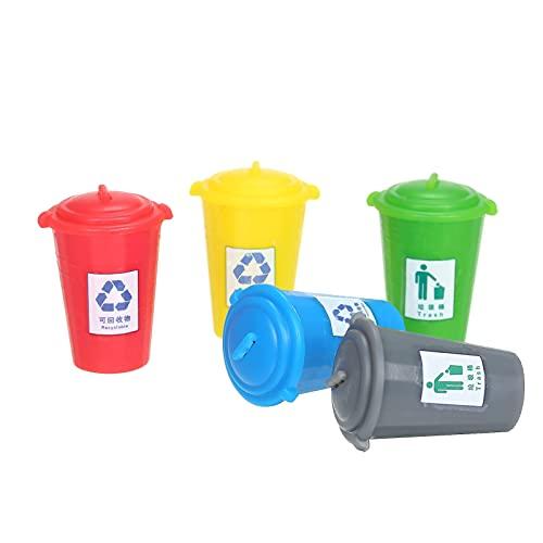 conpoir Latas de Basura en Miniatura, latas de Basura pintadas, Modelo de latas de camión de Basura, Mesa de Arena, casa de Hadas, decoración de Paisaje de Calle