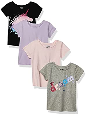 Spotted Zebra Girls' Kids Short-Sleeve T-Shirts, 4-Pack Mystic, Small from FR Apparel Trading DMCC