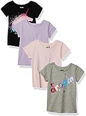 Spotted Zebra Girls' Kids Short-Sleeve T-Shirts, 4-Pack Mystic, Small