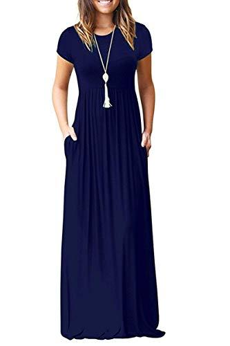 AUSELILY Damen Kurzarm Loose Casual Long Maxi Kleider mit Taschen(Navy Blau,Small)