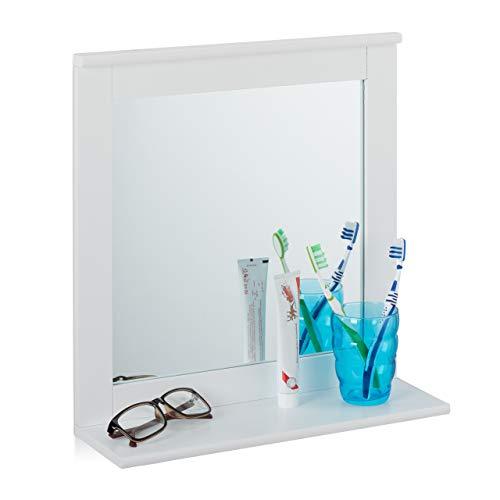 Relaxdays Specchio da Parete, con Mensola, da Bagno, Salotto, Corridoio, Rettangolare, Moderno, MDF, 42,5x40x13, Bianco, Pannelli, Vetro, 1 Pz