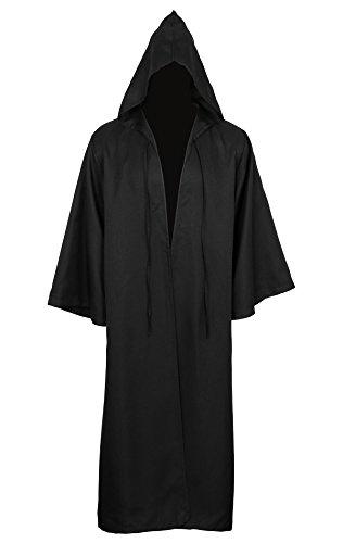 CUSFULL Capa con Capucha Capa Disfraz de Caballero Cool Cosplay Disfraz para Traje de Halloween (L, Adulto Negro)