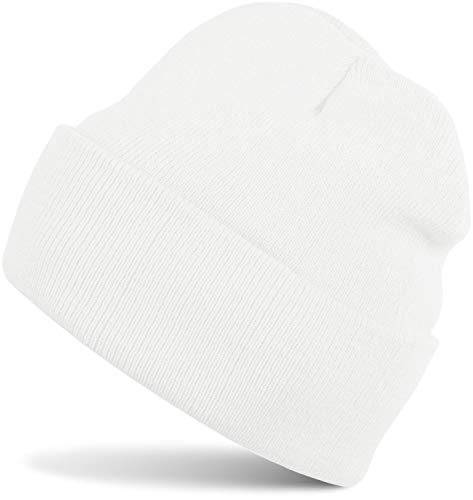 styleBREAKER Unisex warme Beanie Strickmütze, Feinstrick Mütze doppelt gestrickt, Winter 04024029, Farbe:Weiß