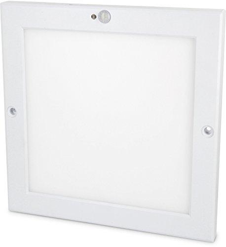 Panel sensor LED UltraSlim de 18W,lámpara de techo con detector de movimiento y sensor crepuscular, transofrmador de LED incl., Warmweiß (3000 K), LED 18.00W 230.00V