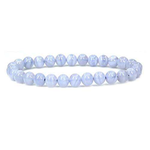 Natural A Grade Blue Lace Agate Gemstone 6mm Round Beads Stretch Bracelet 7' Unisex