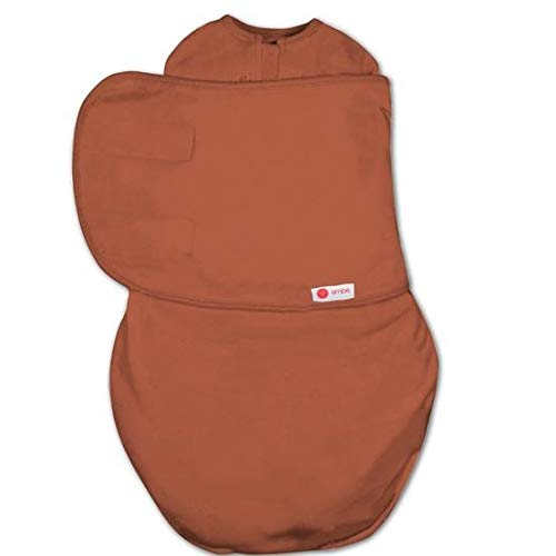 emb 2-Way Starter Swaddle Blanket, 5-14 lbs, Diaper Change w/o Unswaddling, Legs in and Out Design, Warm Up or Cool Down 100% Cotton, 0-3 Months (Rust)