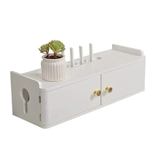 JCNFA planken WIFI Router Shelf/TV Set-Top Opbergdoos, muur opknoping WiFi Decoratieve Occlusie Box Massief Hout Dubbele Deur Decoratieve Box,2 Maten,3 Kleuren 15.74 * 7.87 * 6.88m Kleur: wit
