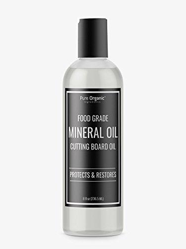 Pure Organic Ingredients Mineral Oil, Food Grade, USP Grade, for Cutting Boards, Butcher Blocks, Countertops, Wood Utensils (8 oz (.5 lb))