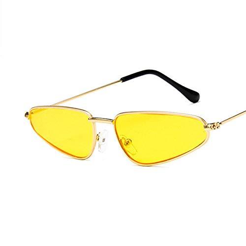 ZJMIYJ zonnebril, kleine kattenoog zonnebril vrouwen vintage metaal gevormde oceaan retro zonneglas drop spiegel oculos de So gouden rand, gele lens