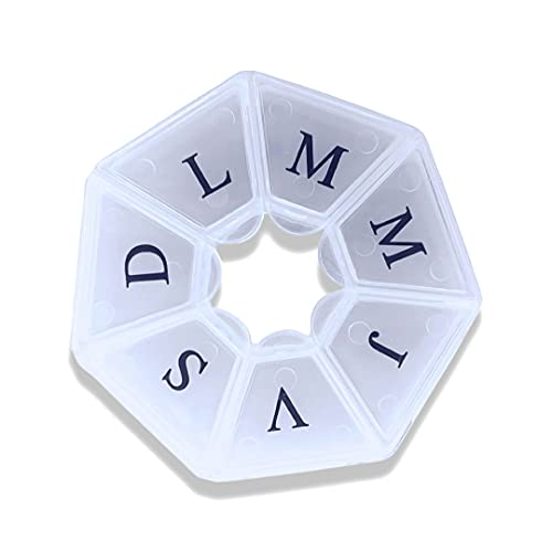 Zagon Pastillero Semanal español-de bolsillo-7 dias-Compartimento medicacion-Organizador medicamentos-Dosificador de bolsillo