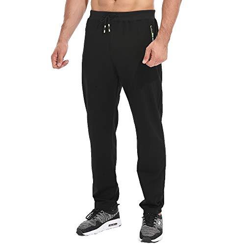 Tansozer Jogginghose Herren Ohne Bündchen mit reißverschluss Taschen Freizeit Baumwolle(Black XL)