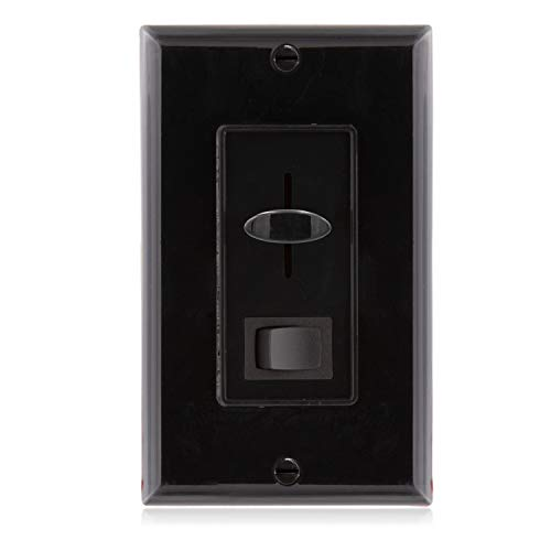 Maxxima 3-Way/Single Pole Dimmer Electrical light Switch 600 Watt max, LED Compatible, Wall Plate Included - Black