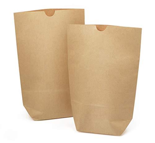 Absofine 60 Braune Papierbeutel Papiertüten Tüten Boden 16x 22 x 6cm 80 gr./m² kleine Kraftpapier Geschenktüten Bodenbeutel natur Obstbeutel Verpackung DIY