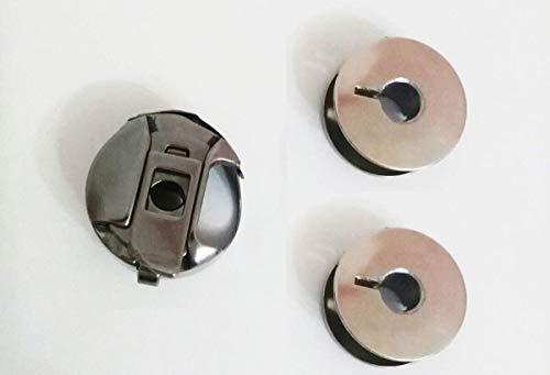 Canillero Cerrado + 2 canillas metalicas para máquinas de Coser Alfa 1680, 3940, 3242, etc - Repuesto Original