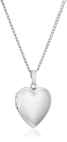 Sterling Silver Polished Heart Locket Necklace, 16