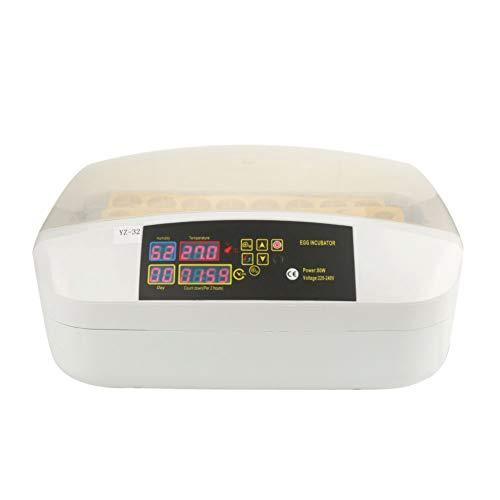 KXIUOA Incubadora, incubadora automática, 32 Huevos, máquina incubadora, Control de Temperatura Digital, incubadora de Huevos, Giro automático, Enchufe británico de 220 V