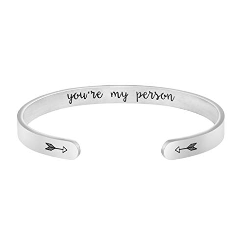 Joycuff You're My Person Bracelet Anniversary Bridesmaid Jewelry Engraved Cuff Bangle Personalized Gift for Sister Wife Daughter Best Friend