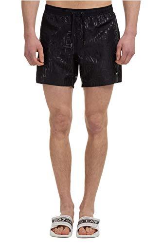 Emporio Armani Swimwear Boxer all Over Tonal Logo Costume da Bagno, Black, 50 Uomo