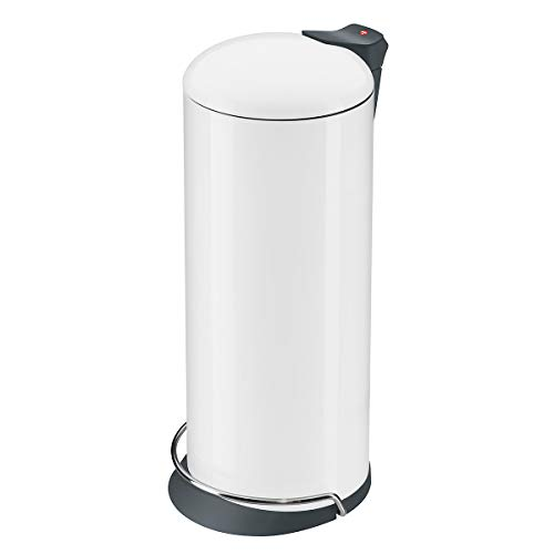 Hailo ProfiLine Solid Design L Mülleimer (aus Stahlblech, 24 Liter, Deckeldämpfung (Soft Close) breite Metall-Fußreling, verzinkter Inneneimer, selbstlöschend) 0526-090