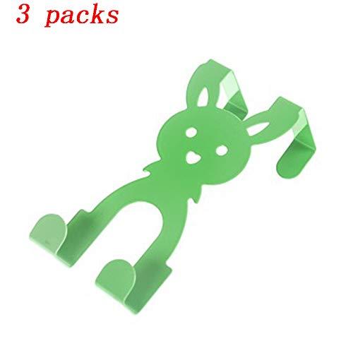 Cmxdz Crochet arrière de porte de bande dessinée en acier inoxydable Crochet arrière sans trace de trace Crochet de crochet sans clou Crochet multicolore en option (Color : Set of 3 Green)