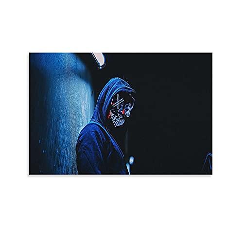Fiktionale Figuren mit Masken unter Neonlichtern, Poster, dekoratives Gemälde, Leinwand, Wandkunst, Wohnzimmer, Poster, Schlafzimmer, Gemälde, 50 x 75 cm
