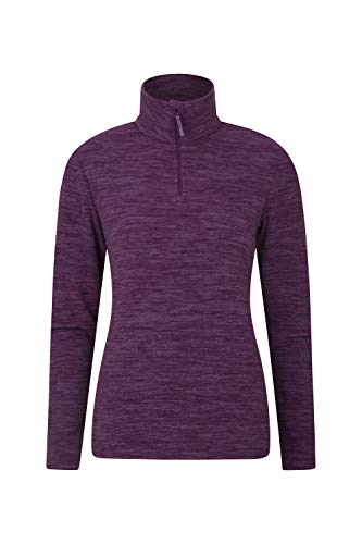Mountain Warehouse Snowdon Womens Fleece Top - Warm Pullover, Lightweight Sweater, Half Zip, Breathable Ladies Tee, Quick Drying - for Winter Walking, Travelling Dark Purple 14