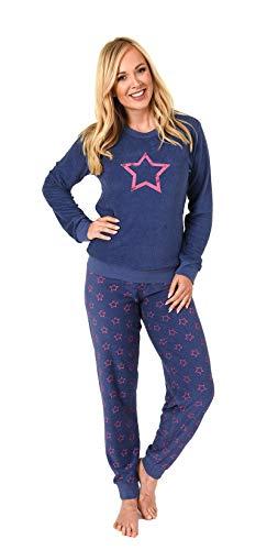 Damen Frottee Pyjama Langarm Schlafanzug mit Bündchen und Sterne Optik - 291 201 13 942, Farbe:blau, Größe:40/42