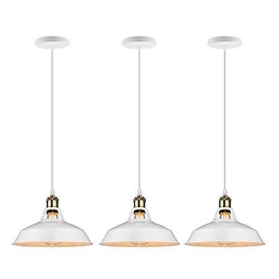 GALYGG Retro Industrial Pendant Lighting Black Ceiling Light Fixtures - Metal Shade Hanging Pendant Lights 10.63 in Diameter - for Kitchen Island - 3 Pack