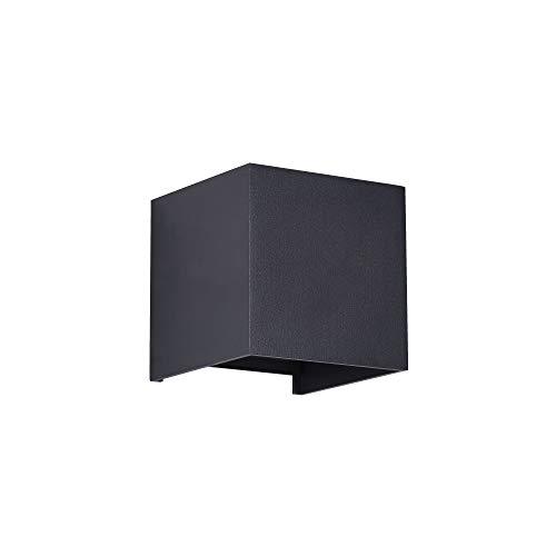 Applique murale exterieur LED, style moderne, armature en aluminium couleur noir, plafonnier rectangulaire en aluminium couleur noir, 2 ampoules 3 W IP54 400lm 3000k 230V