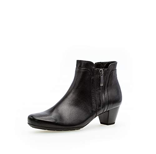 Gabor Damen Stiefeletten, Frauen Ankle Boots,Comfort-Mehrweite,Reißverschluss, Ladies feminin elegant Women's Women,schwarz (Micro),41 EU / 7.5 UK