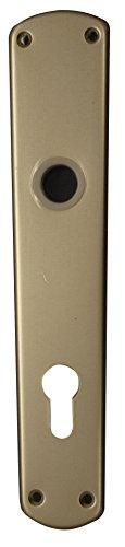 Alpertec 40110500K1 Aluminium Langschild für Haustüren 92 mm PZ Alu neusilber Drückergarnitur Türdrücker Türbeschläge Neu