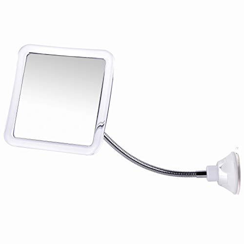 "Mirrorvana Flexible Fogless Shower Mirror for Shaving with Height Adjustable Gooseneck, 360° Swivel and Upgraded Suction, Shatterproof 6.3"" x 6.3"" Surface"