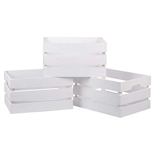 Nature by Kolibri Caja de madera vintage, juego de 3 cajas decorativas de madera, caja de almacenamiento, 39 x 29 x 21 cm, color blanco