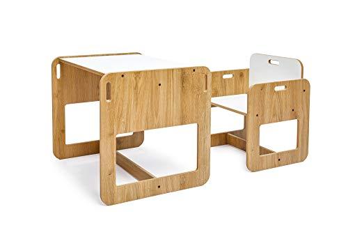 Kumru Kindersitzgruppe mit 1 Kindertisch und 1 Stuhl, Sitzgruppe für Kinder, aus MDF, Kindertisch mit Stühle