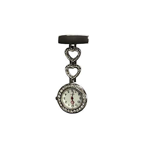 KJFB - Broche de enfermera para reloj de enfermera con broche para enfermera, reloj de pared para médico, reloj de bolsillo Sporter (color plateado)