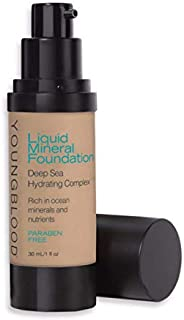 Youngblood Clean Luxury Cosmetics Liquid Mineral Foundation, Golden Sun   Dewy Mineral Lightweight Full Coverage Makeup for Dry Skin Poreless Flawless Tinted Glow   Vegan, Cruelty Free, Gluten-Free