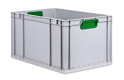 aidB Eurobox NextGen Color grün, 600x400x320 mm, Griffe geschlossen, robuste Plastikbox aus Kunststoff mit ergonomischen Griffen, stapelbare Kunststoffkiste, ideal für die Industrie