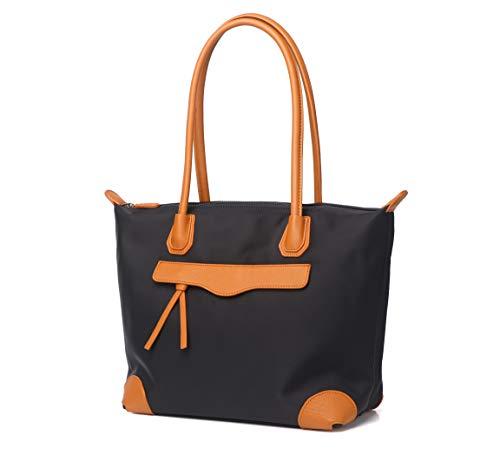 Jeelow Nylon Black Tote Bag Work Tote Bags With Zipper Shoulder Bag Handbags For Women (Brown)