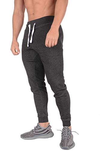 YoungLA Tapered Sweatpants Joggers Men Gym Training Workout 206 Charhet XXL Charcoal Heather
