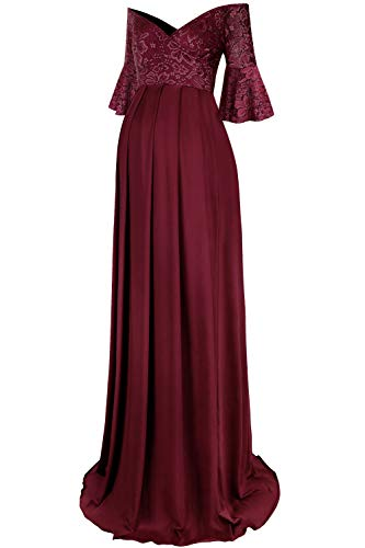 Molliya Maternity Long Dress Bell Sleeve Lace Off Shoulder Fitted Gown Stretchy Baby Shower Photography Dress